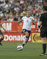USWNT defender Kristie Mewis (8) at midfield. In an international friendly, the U.S. Women's National Team (USWNT) (white/blue) defeated Korea Republic (South Korea) (red/blue), 4-1, at Gillette Stadium on June 15, 2013.