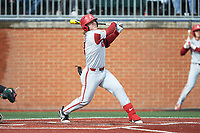Eric Cole (8) of the Arkansas Razorbacks follows through on his swing against the Charlotte 49ers at Hayes Stadium on March 21, 2018 in Charlotte, North Carolina.  The 49ers defeated the Razorbacks 6-3.  (Brian Westerholt/Four Seam Images)