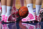 Feb. 12, 2011; The Notre Dame Fighting Irish wear special uniforms and pink shoes for the 2011 Pink Zone game.  The Pink Zone is a national breast cancer initiative created by the Women's Basketball Coaches Association...Photo by Matt Cashore/University of Notre Dame