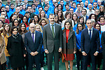 King Felipe VI of Spain (c) and Queen Letizia of Spain with the founder of the company Fructuoso Lopez during the visit to the facilities of the Spanish sportswear company JOMA Sports. January 19, 2018. (ALTERPHOTOS/Acero)