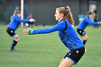 Marie Minnaert (13 Brugge) pictured during warming up of a female soccer game between Club Brugge Dames YLA and RSC Anderlecht Ladies on the fifth matchday of the 2020 - 2021 season of Belgian Scooore Womens Super League , sunday 18 October 2020  in Brugge , Belgium . PHOTO SPORTPIX.BE | SPP | DAVID CATRY