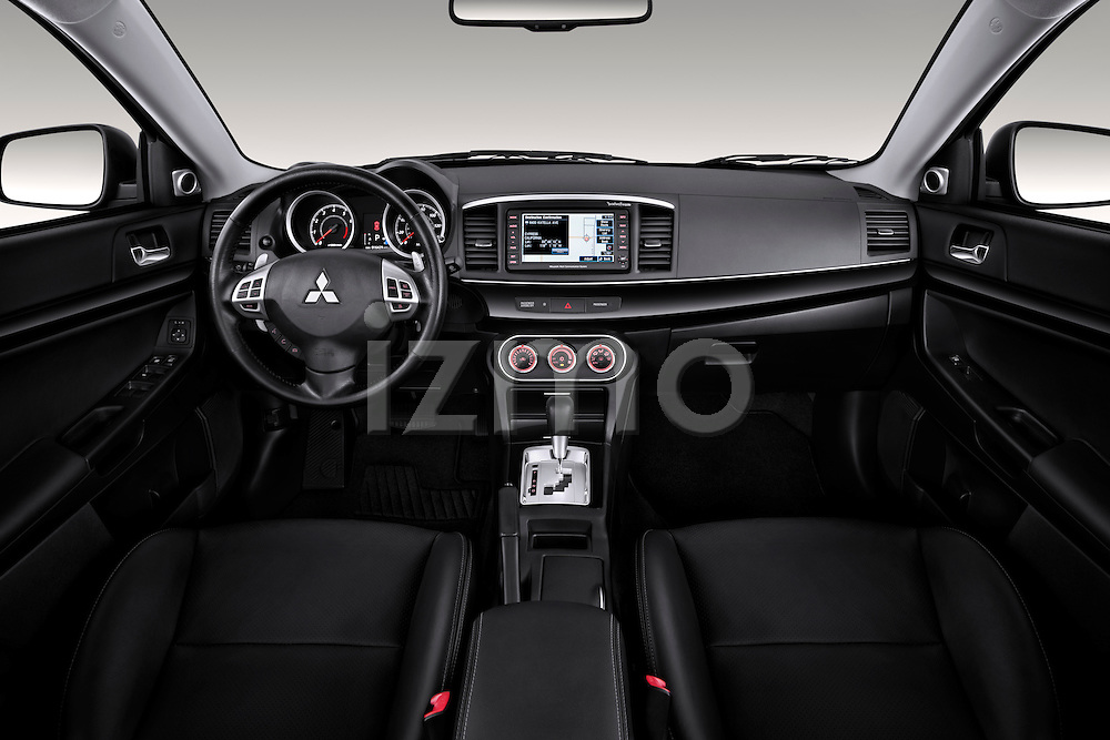 Straight dashboard view of a 2012 Mitsubishi Lancer GT Touring.
