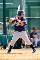 Catcher Bryan De La Rosa (24) of the Atlanta Braves farm system in a Minor League Spring Training intrasquad game on Wednesday, March 18, 2015, at the ESPN Wide World of Sports Complex in Lake Buena Vista, Florida. (Tom Priddy/Four Seam Images)