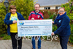 Micheál Sheehan from Tralee presents a cheque for €4,508:00 to Recovery Haven on Wednesday, from his fundraising marathon that he done on the Easter Bank holiday weekend. L to r: Tina Cunningham, Micheál Sheehan and Kathleen Collins.