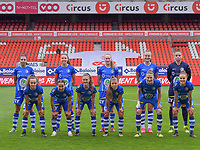 (Back row L to R) Jolet Lommen (9) of AA Gent, Silke Vanwynsberghe (21) of AA Gent, Feli Delacauw (44) of AA Gent, Lobke Loonen (19) of AA Gent, (front row L to R) Jasmien Mathys (12) of AA Gent, Rkia Mazrouai (2) of AA Gent, Emma Van Britsom (6) of AA Gent, Lyndsey Van Belle (14) of AA Gent, Heleen Jaques (4) of AA Gent and Chloe Vande Velde (10) of AA Gent  pose for the team photo before a female soccer game between Standard Femina de Liege and AA Gent Ladies on the 6th matchday in play off 1 of the 2020 - 2021 season of Belgian Scooore Womens Super League , tuesday 11 th of May 2021  in Liege , Belgium . PHOTO SPORTPIX.BE   SPP   STIJN AUDOOREN