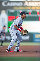 AZL Indians 2 third baseman Jonathan Lopez (15) during an Arizona League game against the AZL Angels at Tempe Diablo Stadium on June 30, 2018 in Tempe, Arizona. The AZL Indians 2 defeated the AZL Angels by a score of 13-8. (Zachary Lucy/Four Seam Images)