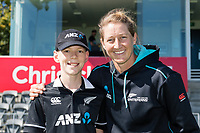 23rd March 2021; Christchurch, New Zealand;  Reuben McKeown(coin toss kid) with Sophie Devine during the 2nd ODI cricket match, Black Caps versus Bangladesh, Hagley Oval, Christchurch, New Zealand.