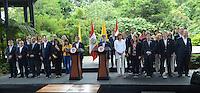 MEDELLÍN - COLOMBIA, 06-08-2015. Juan Manuel Santos, presidente de Colombia, y Ollanta Humala, presidente de Perú, presidieron el segundo gabinete binalcional Colombia - Perú realizado en la ciudad de Medellín Colombia./ Juan Manuel Santos, president of Colombia, and Ollanta Humala, president of Peru, presided the second binational cabinet Colombia - Peru that carried out in Medellin , Colombia.  Photo: VizzorImage/ León Monsalve /STR