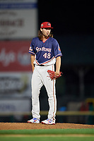 Rochester Red Wings relief pitcher John Curtiss (48) looks in for the sign during a game against the Pawtucket Red Sox on July 4, 2018 at Frontier Field in Rochester, New York.  Pawtucket defeated Rochester 6-5.  (Mike Janes/Four Seam Images)