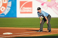First base umpire Travis Godec during the International League game between the Louisville Bats and the Toledo Mud Hens at Fifth Third Field on June 16, 2018 in Toledo, Ohio. The Mud Hens defeated the Bats 7-4.  (Brian Westerholt/Four Seam Images)