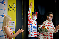 10th July 2021; Carcassonne, France; WOODS Michael (CAN) of ISRAEL START-UP NATION pictured during the podium ceremony in the polka dots jersey during stage 14 of the 108th edition of the 2021 Tour de France cycling race, a stage of 183,7 kms between Carcassonne and Quillan