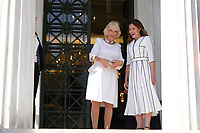 Pictured: Betty (Peristera) Baziana (R) and the Duchess of Cornwall at Benaki Museum in Athens, Greece. Wednesday 09 May 2018 <br /> Re: Visit of the Duchess of Cornwall to the Benaki Museum as part of her official visit with HRH Prnce Charles to Athens, Greece.