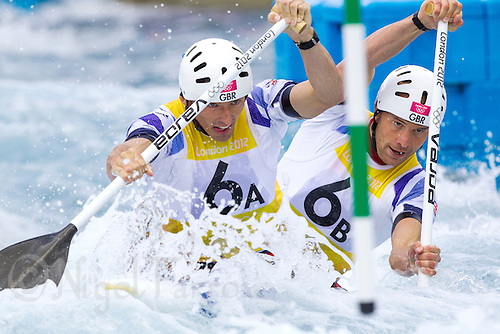 02 AUG 2012 - CHESHUNT, GBR - David Florence (GBR) (left) and Richard Hounslow (GBR) (right) of Great Britain make their semi final run during the men's Canoe Double (C2) during the London 2012 Olympic Games event at Lee Valley White Water Centre, Cheshunt, Great Britain (PHOTO (C) 2012 NIGEL FARROW)