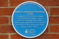 A blue plaque outside the stadium gate prior to the Sky Bet Championship match between Middlesbrough and Swansea City at the Riverside Stadium, Middlesbrough, England, UK. Saturday 22 September 2018