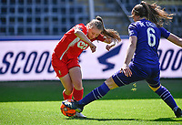 Gwyneth Vanaenrode (3) of Standard pictured in a duel with Tine De Caigny (6) of Anderlecht during a female soccer game between RSC Anderlecht Dames and Standard Femina De Liege on the third matchday of play off 1 of the 2020 - 2021 season of Belgian Womens Super League , saturday 24 th of April 2021  in Brussels , Belgium . PHOTO SPORTPIX.BE | SPP | DAVID CATRY