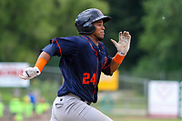 Bowling Green Hot Rods catcher Ronaldo Hernandez (24) runs to first base during a Midwest League game against the Wisconsin Timber Rattlers on July 23, 2018 at Fox Cities Stadium in Appleton, Wisconsin. Wisconsin defeated Bowling Green 5-3. (Brad Krause/Four Seam Images)