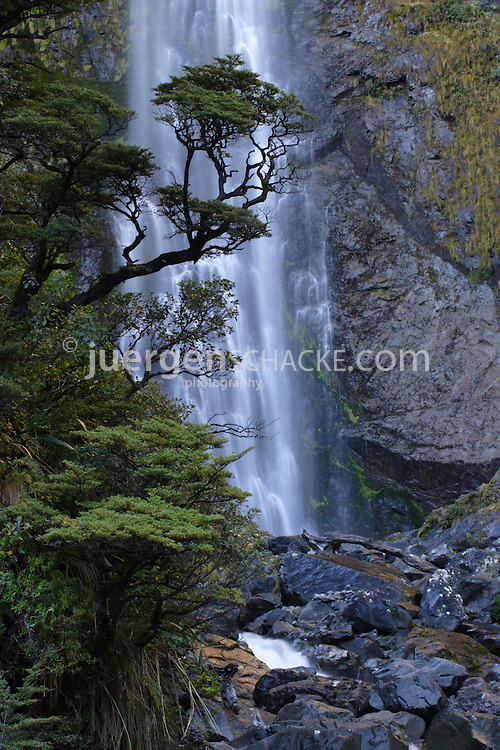 Waterfall, Southern Alps, West Coast, New Zealand