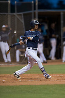 AZL Padres 2 shortstop Tucupita Marcano (1) follows through on his swing during an Arizona League game against the AZL Padres 1 at Peoria Sports Complex on July 14, 2018 in Peoria, Arizona. The AZL Padres 1 defeated the AZL Padres 2 4-0. (Zachary Lucy/Four Seam Images)