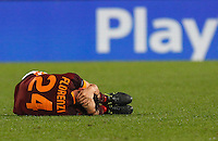 Calcio, Champions League, Gruppo E: Roma vs Bayer Leverkusen. Roma, stadio Olimpico, 4 novembre 2015.<br /> Roma's Alessandro Florenzi lies on the pitch after getting injured during a Champions League, Group E football match between Roma and Bayer Leverkusen, at Rome's Olympic stadium, 4 November 2015.<br /> UPDATE IMAGES PRESS/Riccardo De Luca