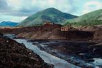 Alaska, Gold mine, Inholding in the Yukon Charley Rivers National Preserve, Alaskan miners devastate a stream. D2 Land Claims, Circa 1987.