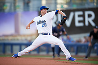 Tulsa Drillers starting pitcher Andrew Sopko (20) delivers a pitch during a game against the San Antonio Missions on June 1, 2017 at ONEOK Field in Tulsa, Oklahoma.  Tulsa defeated San Antonio 5-4 in eleven innings.  (Mike Janes/Four Seam Images)