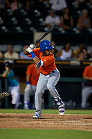 St. Lucie Mets Wagner Lagrange (7) bats during a Florida State League game against the Bradenton Barbanegras on July 27, 2019 at LECOM Park in Bradenton, Florida.  Bradenton defeated St. Lucie 3-2.  (Mike Janes/Four Seam Images)