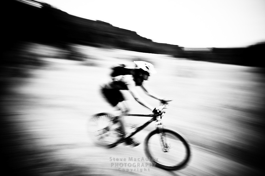 Action shot of mountain biking in the Gifford Pinchot National Forest above Stevenson WA.