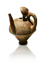 Terra cotta side spouted pitcher - 1700 BC to 1500 BC - Kültepe Kanesh - Museum of Anatolian Civilisations, Ankara, Turkey. Against a white background