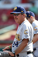 Burlington Bees manager Bill Richardson (24) in the dugout during a game against the Kane County Cougars on August 20, 2014 at Third Bank Ballpark in Geneva, Illinois.  Kane County defeated Burlington 7-3.  (Mike Janes/Four Seam Images)