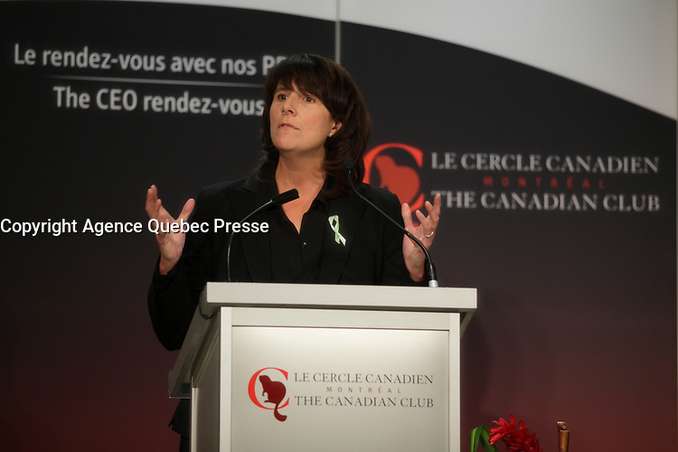 February 10, 2014 - Sophie Brochu, President & CEO of Gaz Metro, delivers a speech to the Canadian Club of Montreal<br /> <br /> PHOTO :  Agence Quebec Presse
