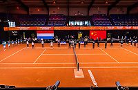 Den Bosch, The Netherlands, April 16, 2021,    Maaspoort, Billy Jean King Cup  Netherlands -  China : Opening Ceremony,  <br /> Photo: Tennisimages/Henk Koster