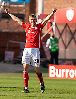 24th April 2021, Oakwell Stadium, Barnsley, Yorkshire, England; English Football League Championship Football, Barnsley FC versus Rotherham United; Michal Helik of Barnsley celebrates their win