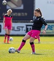 Chrystal Lermusiaux (2) of Sporting Charleroi pictured during a female soccer game between Eendracht Aalst and Sporting Charleroi on the third matchday of play off 2 of the 2020 - 2021 season of Belgian Scooore Womens Super League , Saturday 24 th of April 2021  in Aalst , Belgium . PHOTO SPORTPIX.BE | SPP | KRISTOF DE MOOR