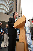 Toronto (ON) CANADA, April 25,2007<br /> <br /> Belinda Stronach, Rick Mercer, UNICEF Canada<br /> and Toronto Mayor David Miller Are joined by Canada's newest Spread the<br /> Net Ambassadors and corporate partners on Africa Malaria Day in front of<br /> Toronto City Hall, Wednesday, April 25 at 12:35 pm.<br /> <br /> The Spread the Net campaign was launched as a partnership with UNICEF<br /> Canada in November 2006 by co-chairs Belinda Stronach and satirist Rick<br /> Mercer. With the slogan, 1 Net. 10 Bucks. Save Lives, the goal of the campaign<br /> is to raise $5 million to fund the procurement and free distribution of<br /> 500,000 anti-malarial bednets at 10 dollars each, for children in Rwanda and<br /> Liberia over the next two years.<br /> <br /> <br /> <br /> photo by Neil Burstyn - Images Distribution