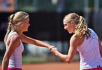 August 9, 2014, Netherlands, Rotterdam, TV Victoria, Tennis, National Junior Championships, NJK, Final double girls 16 years: Isolde de Jong(R) and  Nina Kruijer (NED)<br /> Photo: Tennisimages/Henk Koster