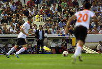 Valencia, Spain. Thursday 19 September 2013<br /> Pictured: Swansea manager Michael Laudrup watches on<br /> Re: UEFA Europa League game against Valencia C.F v Swansea City FC, at the Estadio Mestalla, Spain,
