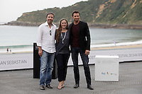 "Director Denis Villeneuve (L) and australian actor Hugh Jackman posses in the photocall of the ""Prisioners"" film presentation during the 61 San Sebastian Film Festival, in San Sebastian, Spain. September 27, 2013. (ALTERPHOTOS/Victor Blanco) <br /> San Sebastian Film Fest <br /> Foto Insidefoto"