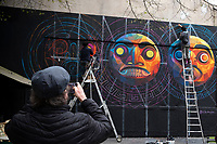 Europe/ Ile de France / Paris /75011 :   L'artiste Mexicain Cix Mugre  à mis 4 jours pour peindre cette fresque, là où les artistes n'en mettent qu'un, habituellement. Il nous concocté une fresque en rapport avec son pays, trois masques mexicains, ou Inca, très colorés et très détailléLe mur d'Oberkampf, ce pari fou devenu une institution du street art parisien  sur l'immeuble de l'historique Café Charbon, L'association le M.U.R. (modulable, urbain, réactif)  Oeuvre protégée  //  Europe / Ile de France / Paris / 75011: The Mexican artist Cix Mugre took 4 days to paint this fresco, where artists usually only put one. He concocted a fresco related to his country, three Mexican or Inca masks, very colorful and very detailed The Oberkampf wall, this crazy bet that has become an institution of Parisian street art on the building of the historic Café Charbon, L 'association le MUR (modular, urban, responsive) // OP Protected work /