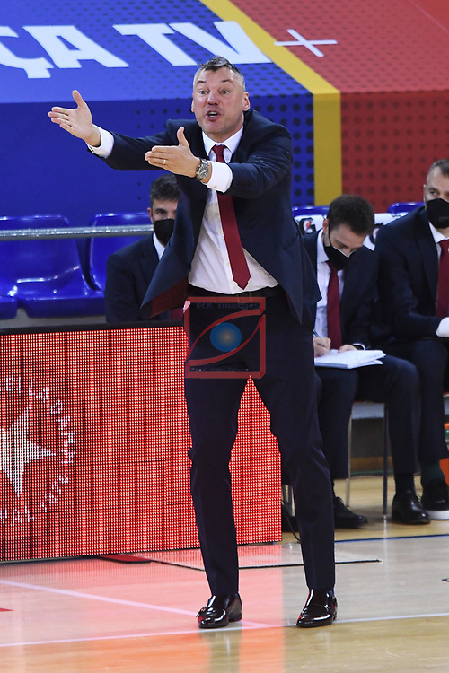 Turkish Airlines Euroleague 2020/2021. <br /> Regular Season-Round 9.<br /> FC Barcelona vs Olympiacos Piraeus: 88-96.<br /> Sarunas Jasikevicius.