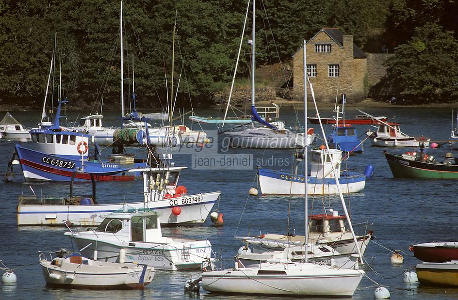 Europe/France/Bretagne/29/Finistère/Riec-sur-Belon: Le port - Bateaux de plaisance et bateaux de pêche