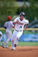 Buffalo Bisons designated hitter Mike Ohlman (14) running the bases during a game against the Syracuse Chiefs on July 3, 2017 at Coca-Cola Field in Buffalo, New York.  Buffalo defeated Syracuse 6-2.  (Mike Janes/Four Seam Images)