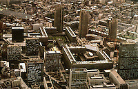 London:  The Barbican from the air.  the Three Towers are Lauderdale, Shakespeare, and Cromwell.  Photo '90.