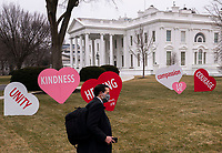 First Lady Dr. Jill Biden had the North Lawn of the White House decorated for Valentine's Day, in Washington, DC on Friday, February 12, 2021. <br /> CAP/MPI/RS<br /> ©RS/MPI/Capital Pictures