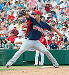 Cleveland Indians Rich Hill pitches against the Los Angeles Angels.