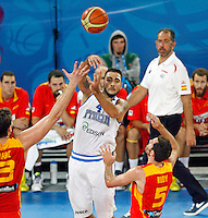 Pietro Aradori of Italy in action during European basketball championship Eurobasket 2013, round 2, group F  basketball game between Italy and Spain in Stozice Arena in Ljubljana, Slovenia, on September 16. 2013. (credit: Pedja Milosavljevic  / thepedja@gmail.com / +381641260959)