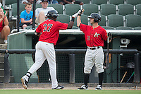 Micker Aldofo (37) of the Kannapolis Intimidators high fives teammate Grant Massey (16) after hitting a 3-run home run in the bottom of the 1st inning against the Charleston RiverDogs at Kannapolis Intimidators Stadium on August 3, 2016 in Kannapolis, North Carolina.  The Intimidators defeated the RiverDogs 8-4.  (Brian Westerholt/Four Seam Images)