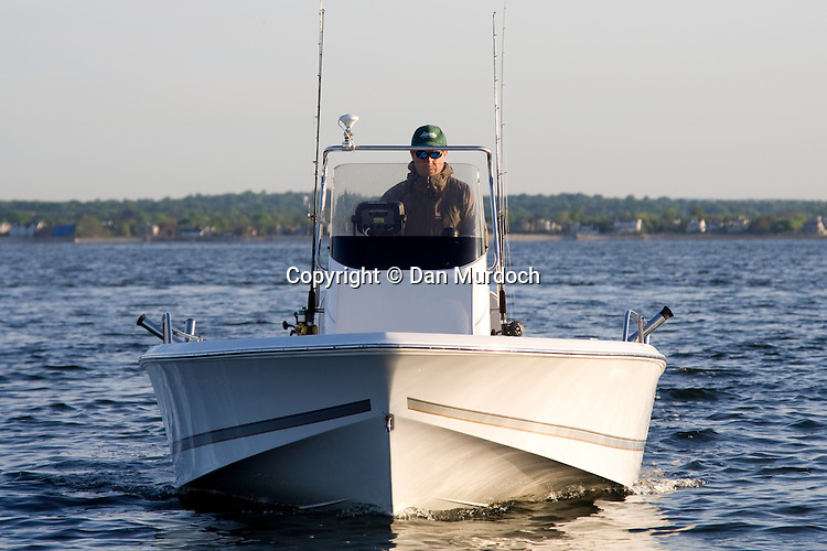Center Console fishing boat viewed straight on.