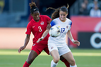 CARSON, CA - FEBRUARY 07: Kadeisha Buchanan #3 of Canada and  Maria Paula Salas #17 of Costa Rica battle for a ball during a game between Canada and Costa Rica at Dignity Health Sports Park on February 07, 2020 in Carson, California.