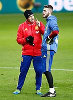 Spain's David De Gea with the goalkeeper coach Jose Manuel Ochotorena during training session. March 23,2017.(ALTERPHOTOS/Acero)