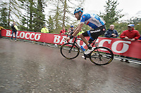 very strong ride by former Giro winner Ryder Hesjedal (CAN/Garmin-Sharp) in the final kilometer up the Val Martello climb/finish (2059m) where he would end up finishing 2nd<br /> <br /> 2014 Giro d'Italia <br /> stage 16: Ponte di Legno - Val Martello (139km)